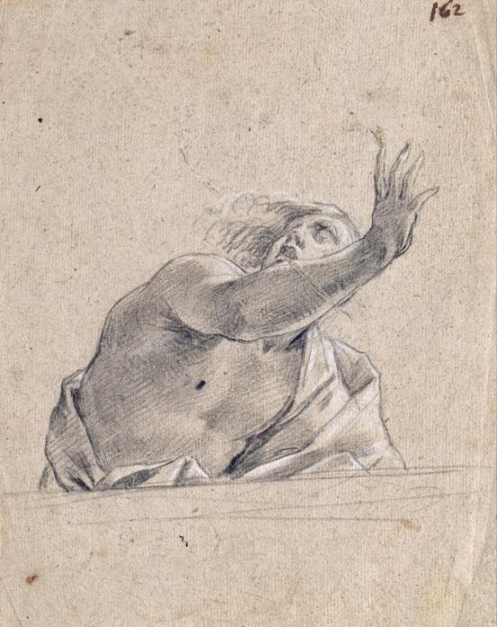 Simon Vouet, Uomo con braccio alzato di là da un parapetto