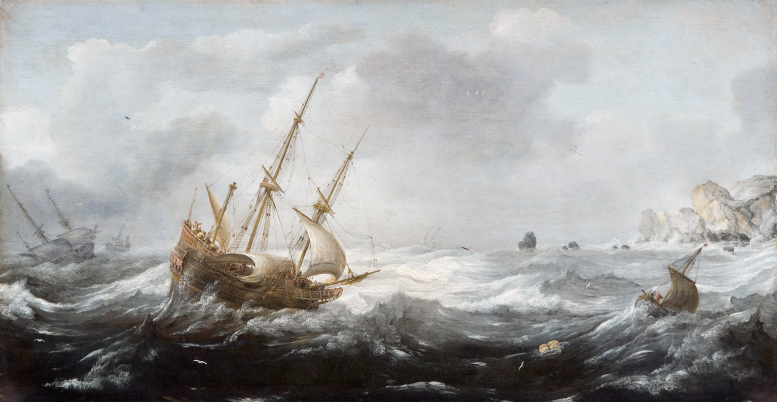 Jan Porcellis, Ships in a Storm on a Rocky Coast1614 - 1618